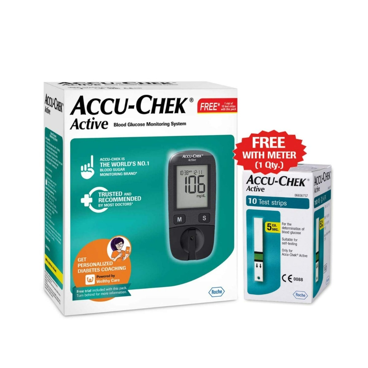 Accu-Chek Active Blood Glucose Monitoring System With 10 Free Test Strips, 1 Kit