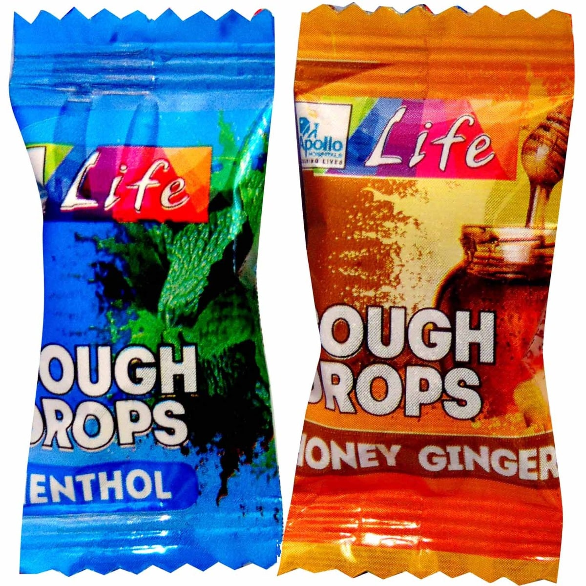 Apollo Life Menthol, Honey, Ginger Flavour Cough Drops, 2 Count
