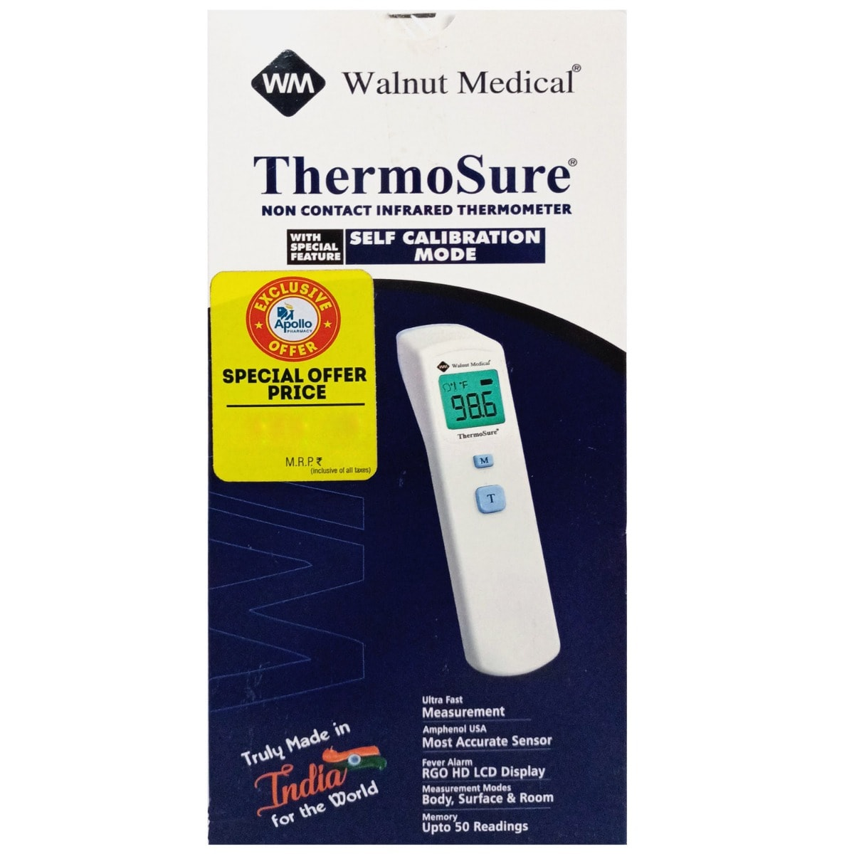 Apollo Life Thermosure Non Contact Infrared Thermometer TS-03, 1 Count
