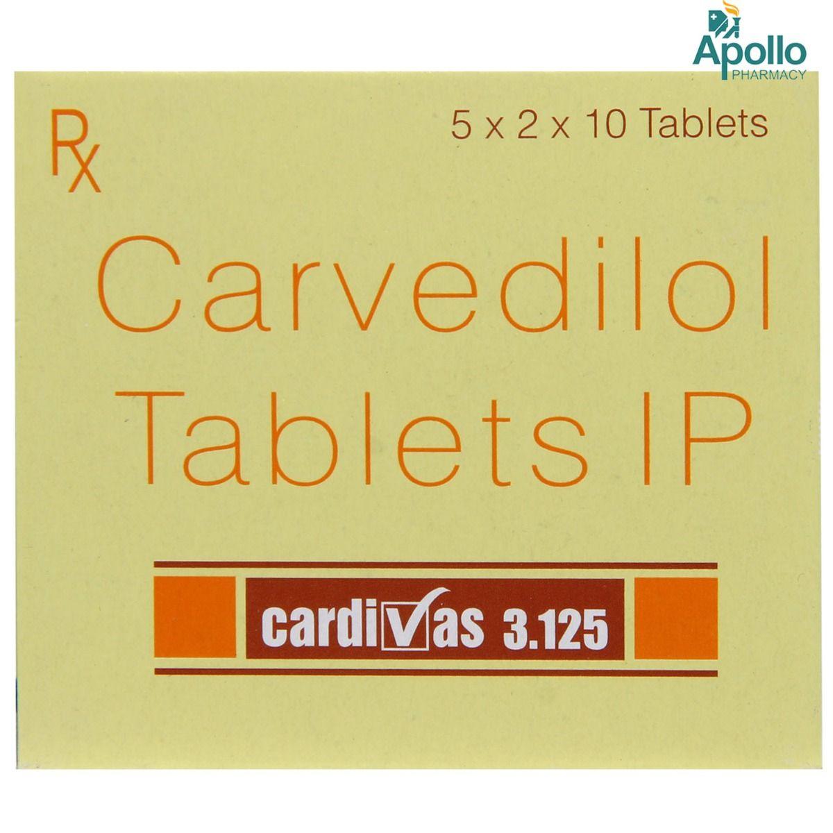 Cardivas 3.125mg Tablet 10's