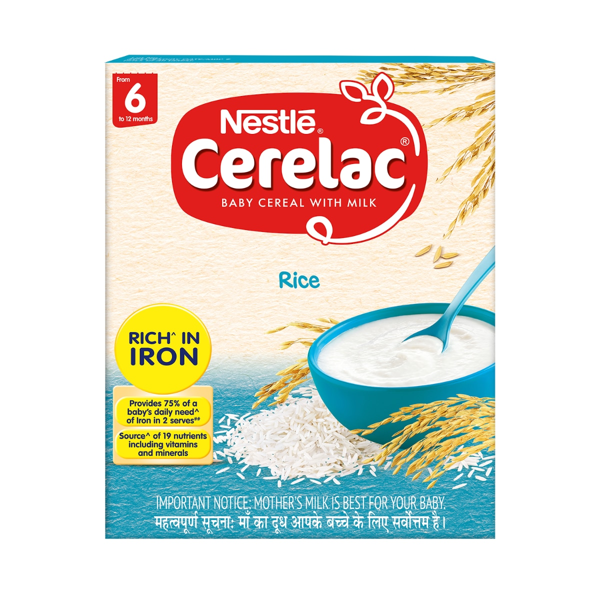 Nestle Cerelac Rice Baby Cereal, Stage1, 6M+, 300 gm Refill Pack