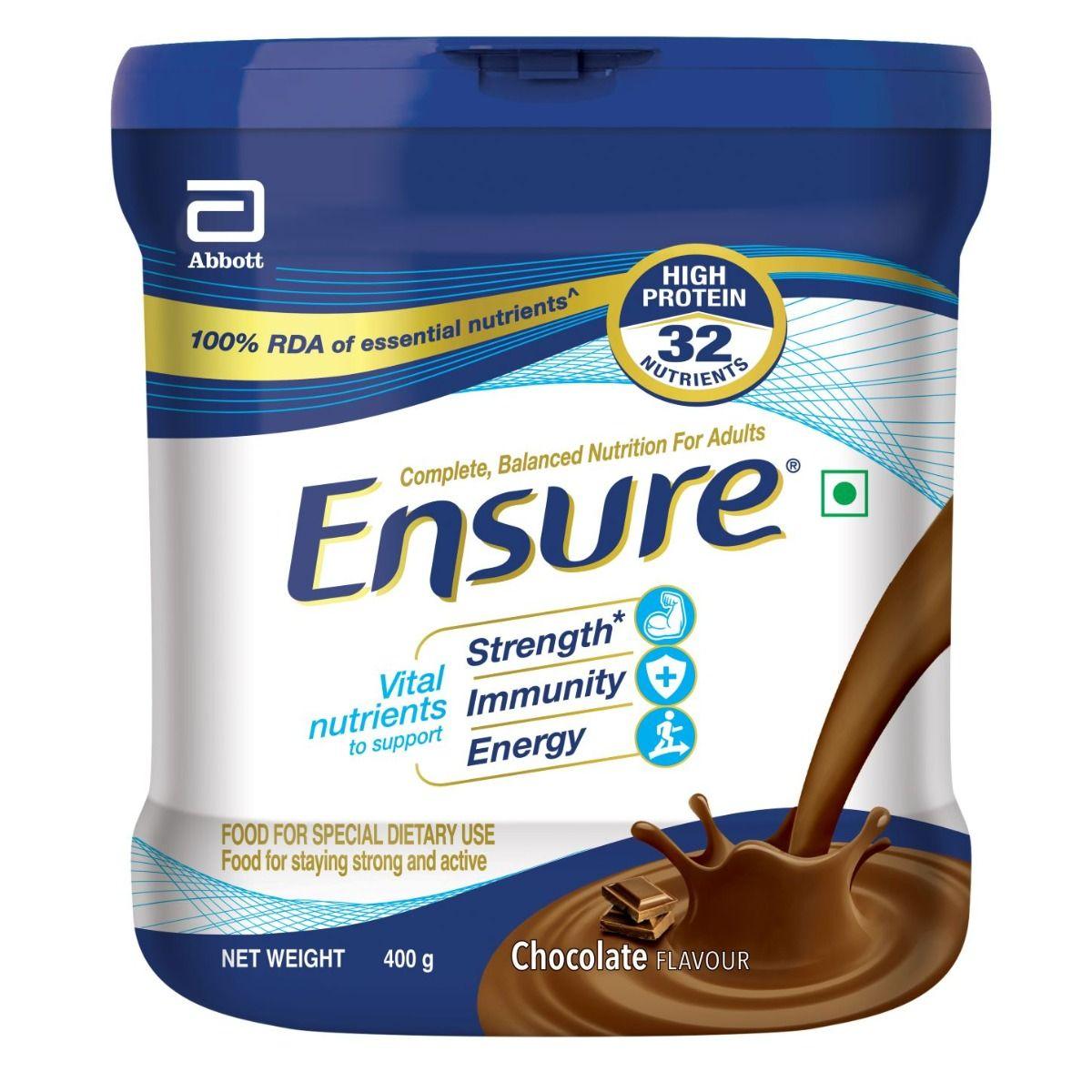 Ensure Chocolate Flavoured Powder, 400 gm Tin
