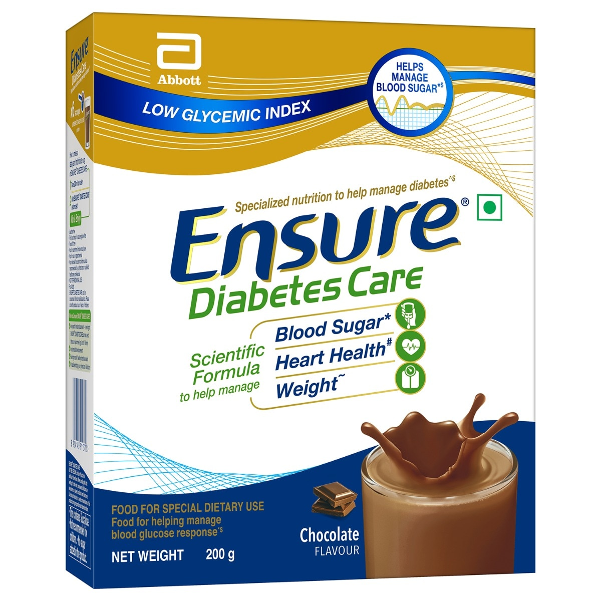 Ensure Chocolate Flavoured Diabetes Care Powder, 200 gm Refill Pack
