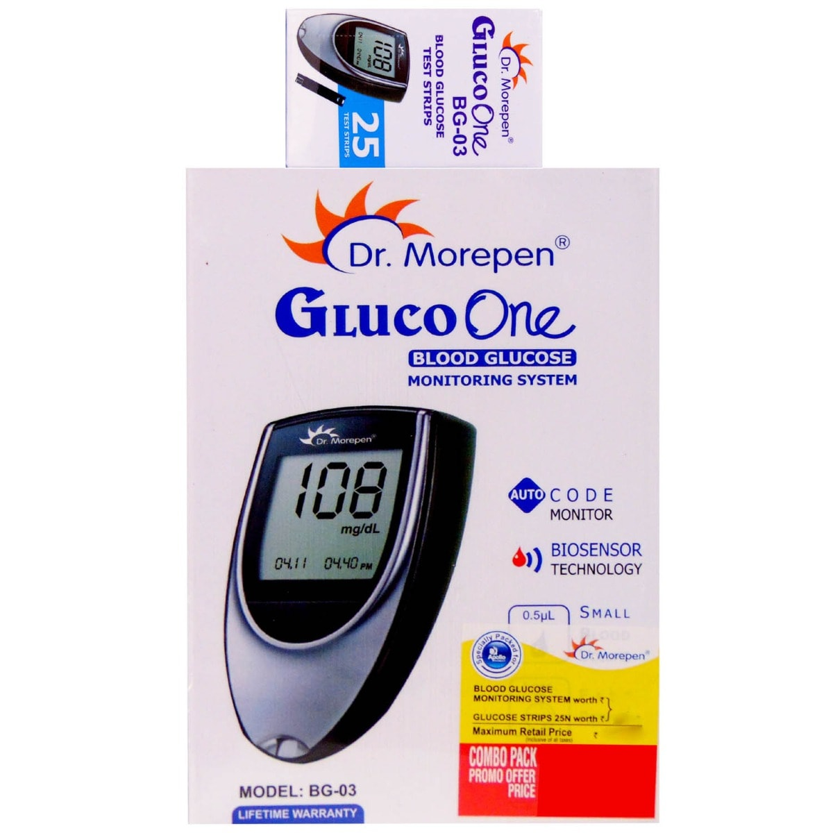 DR. Morepen Gluco One Blood Glucose Monitoring System BG-03, With 25 Free Test Strips, 1 kit
