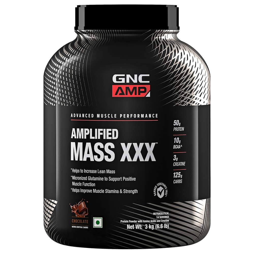 GNC AMP Amplified Mass XXX Chocolate Flavoured Powder, 3 kg