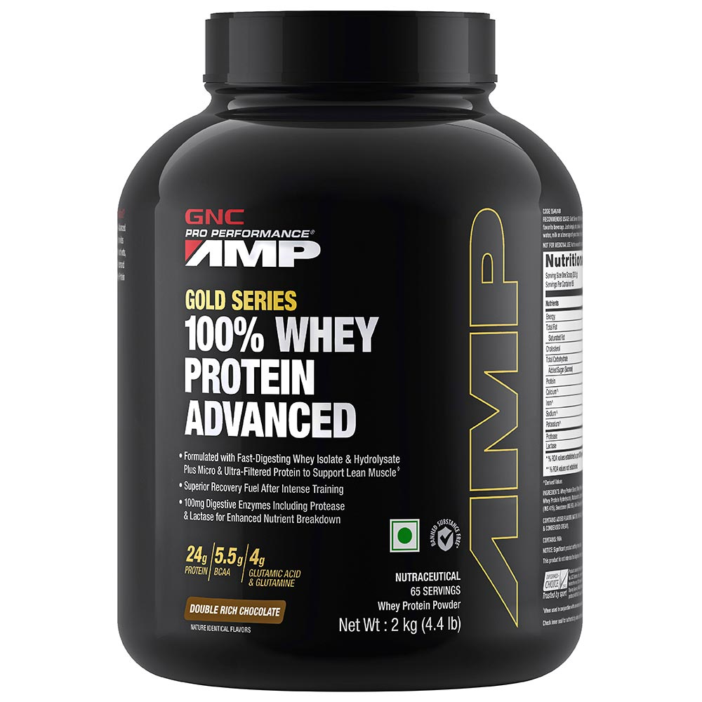 GNC AMP Gold 100% Whey Protein Advanced Double Rich Chocolate Flavoured Powder, 2 kg