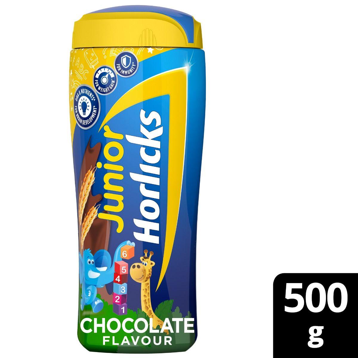 Junior Horlicks Chocolate Flavoured Health & Nutrition Drink, 500 gm Jar