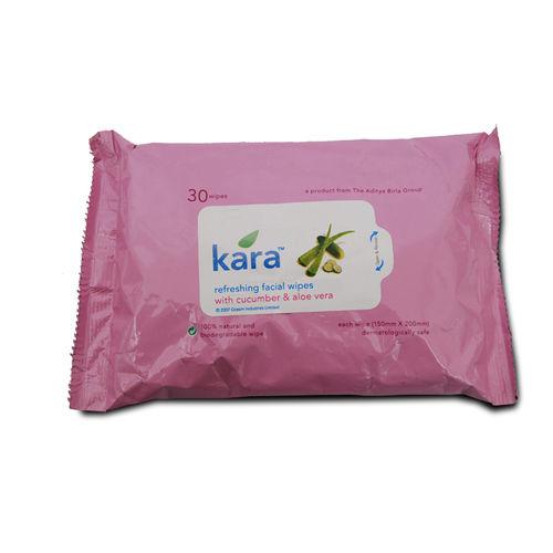 Kara Cucumber & Alo Vera Refreshing Facial Wipes, 30 Count