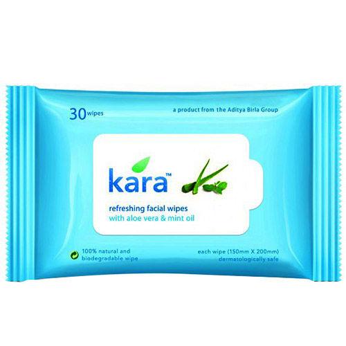 Kara Aloe Vera & Mint Oil Refreshing Facial Wipes, 30 Count