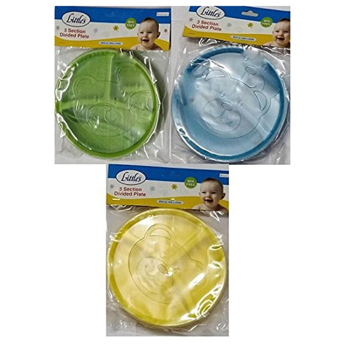 Little's 3 Section Divided Plate With Lid, 3 Count