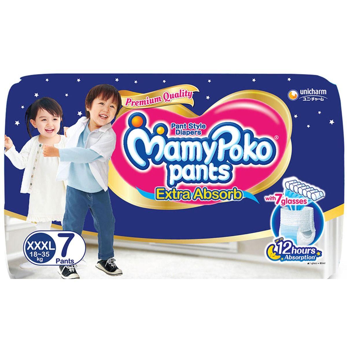 MamyPoko Extra Absorb Diaper Pants XXXL, 7 Count
