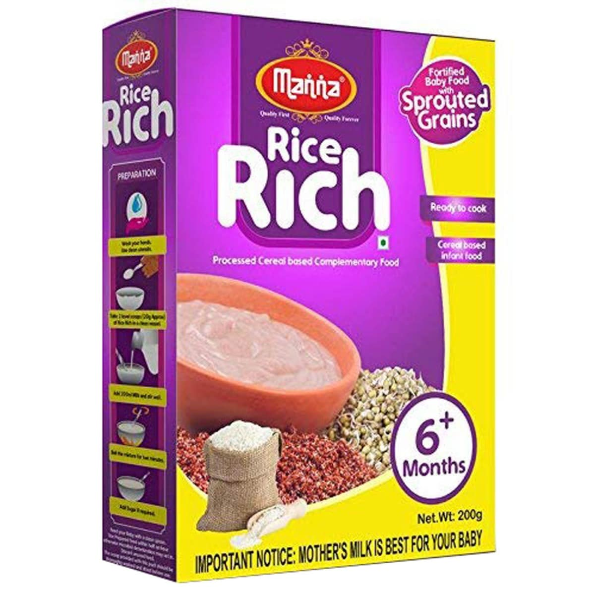 Manna Rice Rich Baby Cereal 6+Months, 200 gm Refill Pack