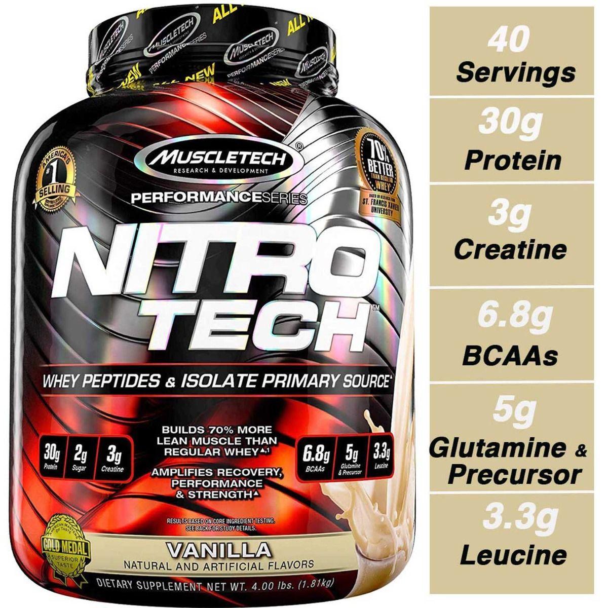 Muscletech Nitro Tech Vanilla 4 Lb Jar