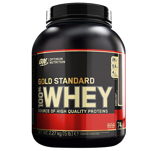 Optimum Nutrition 100% Whey Gold Standard Double Rich Chocolate Flavoured Powder, 5 lb