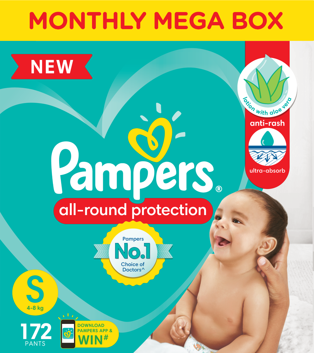 Pampers Baby-Dry Diaper Pants Small, 172 Count