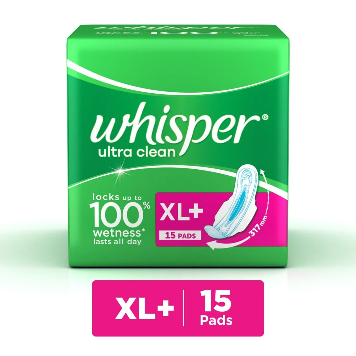 Whisper Ultra Clean Wings Sanitary Pads XL, 15 Count