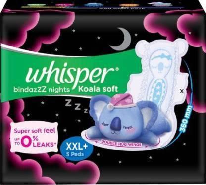 Whisper Bindazz Nights Koala Soft Sanitary Pads XXL+, 5 Count