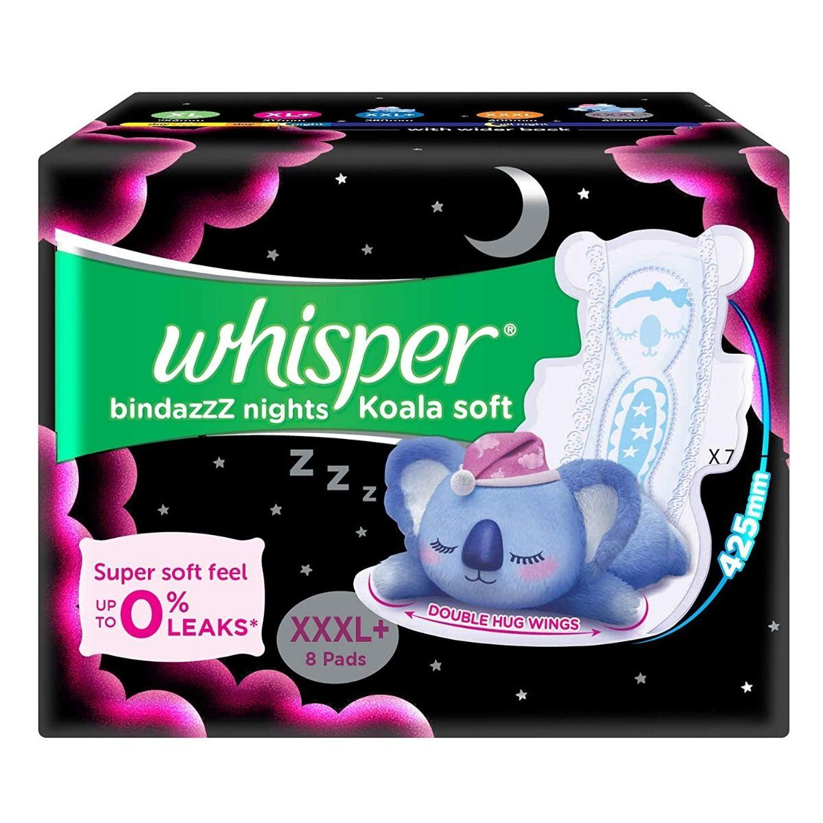 Whisper Bindazz Nights Koala Soft Sanitary Pads XXXL+, 8 Count