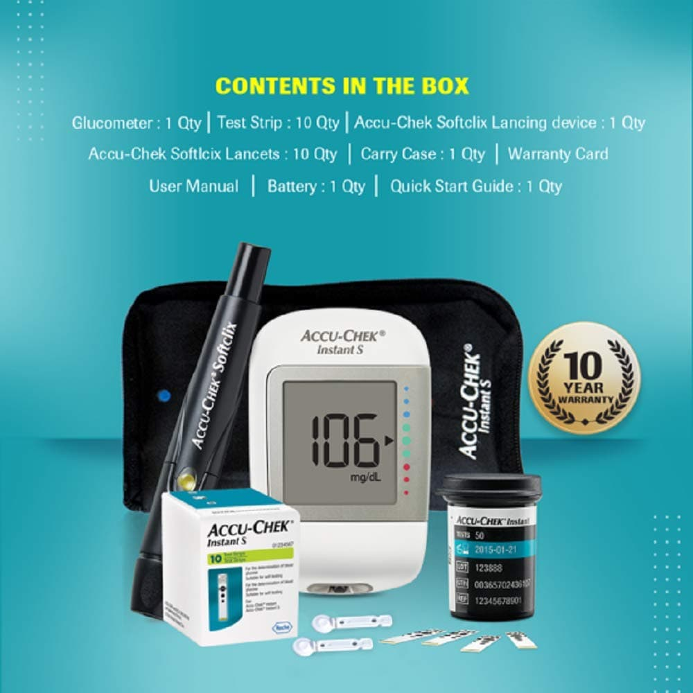 Accu-Chek Instant S Blood Glucose Monitoring System With 10 Free Test Strips, 1 Kit, Pack of 1