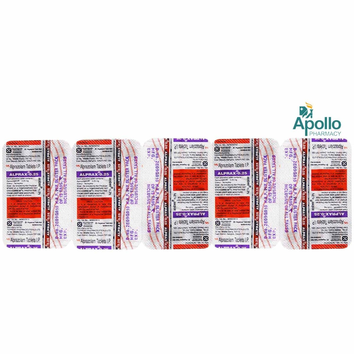 Alprax 0.25 Tablet 15's, Pack of 15 TABLETS