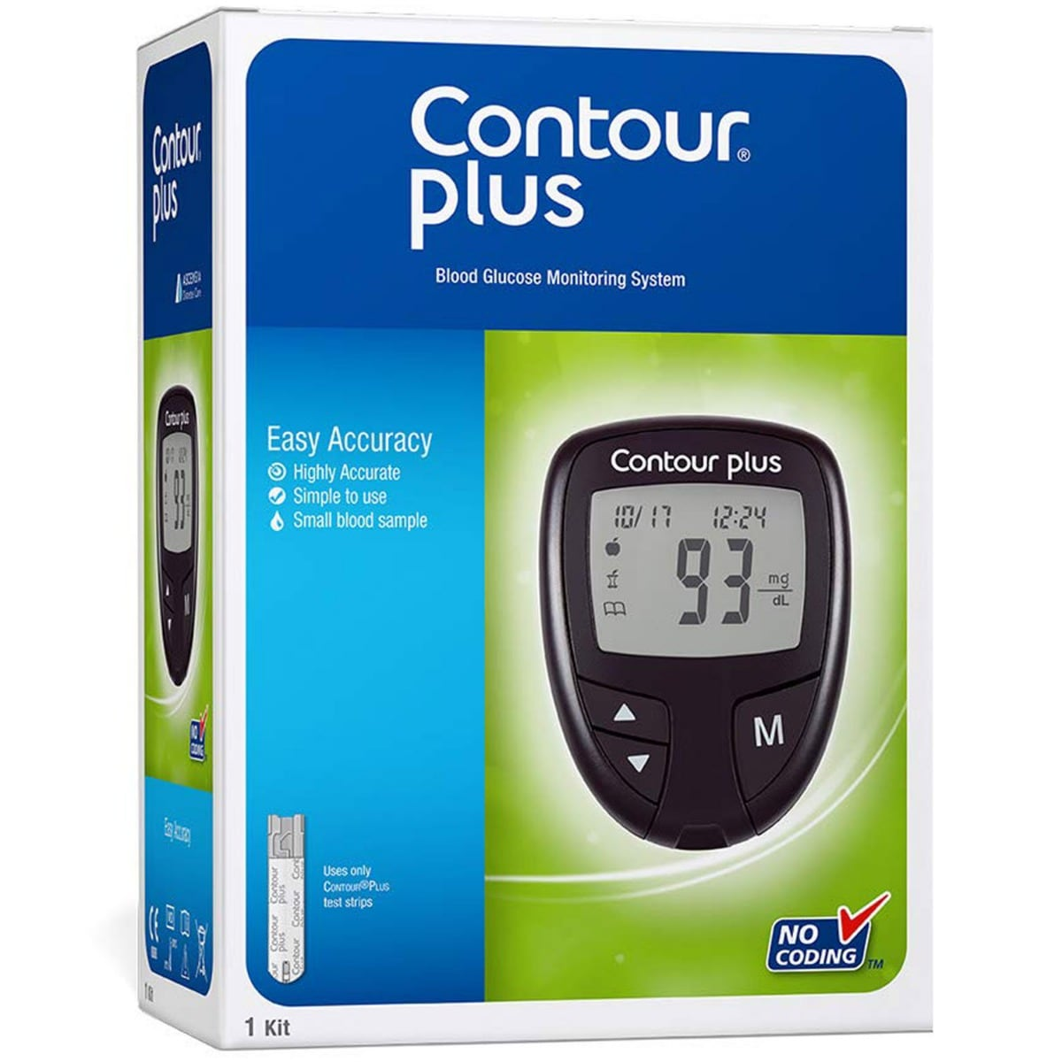 Contour Plus Blood Glucose Monitoring System With 50 Test Strips, Pack of 1