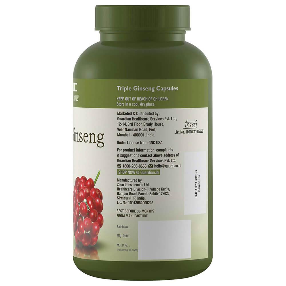 GNC Herbal Plus Triple Ginseng Root, 90 Capsules, Pack of 1