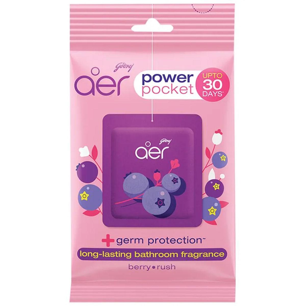 Godrej Aer Power Pocket Berry Rush Bathroom Fragrance, 10 gm, Pack of 1