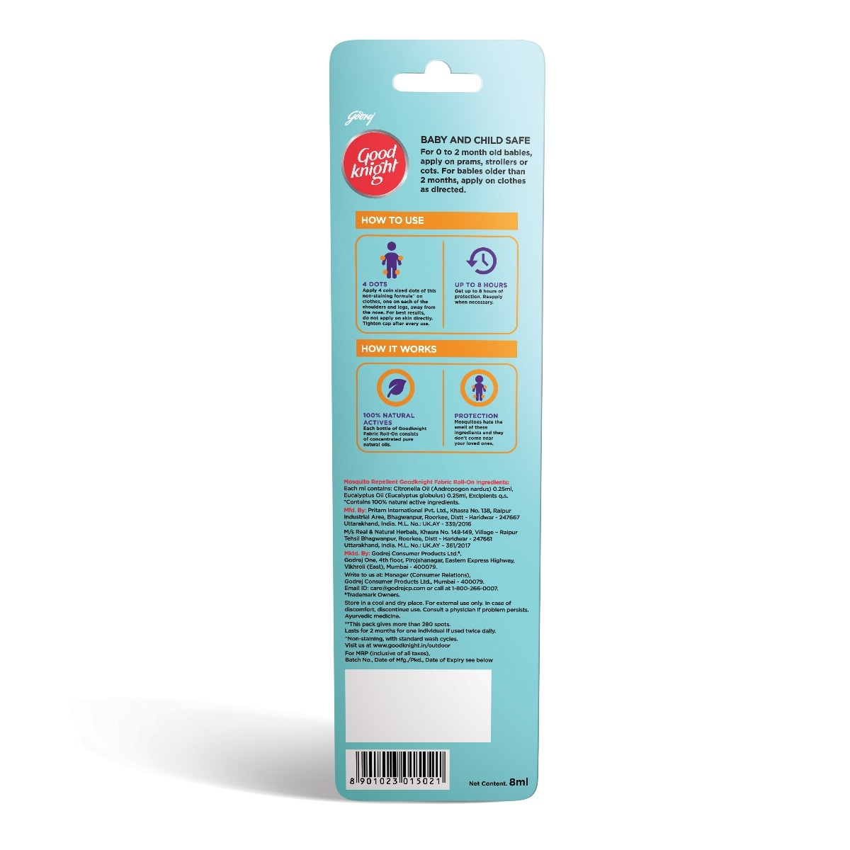 Good Knight Citrus Fragrance Mosquito Repellent Fabric Roll-On, 8 ml, Pack of 1