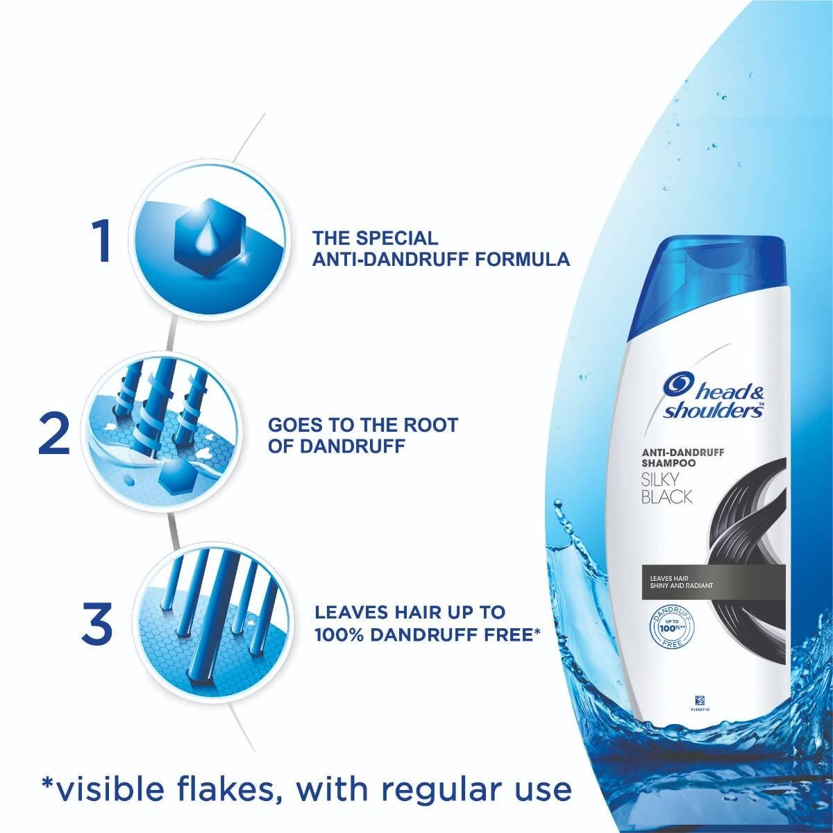 Head & Shoulders Anti-Dandruff Silky Black Shampoo, 72 ml, Pack of 1