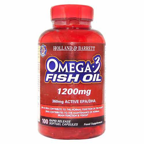 Holland & Barrett Omega 3 Fish Oil 1200 mg, 100 Capsules, Pack of 1