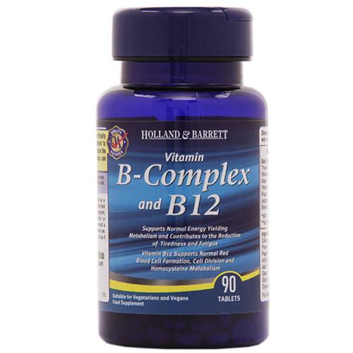 Holland & Barrett Vitamin B-Complex & B 12, 90 Tablets, Pack of 1