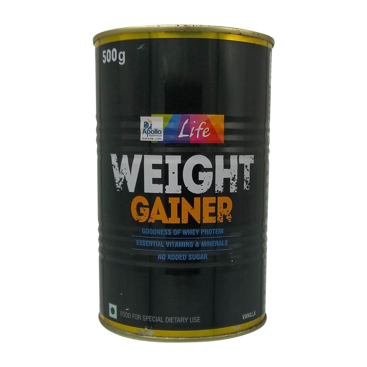 Apollo Life Vanilla Flavour Weight Gainer Powder, 500 gm Tin, Pack of 1