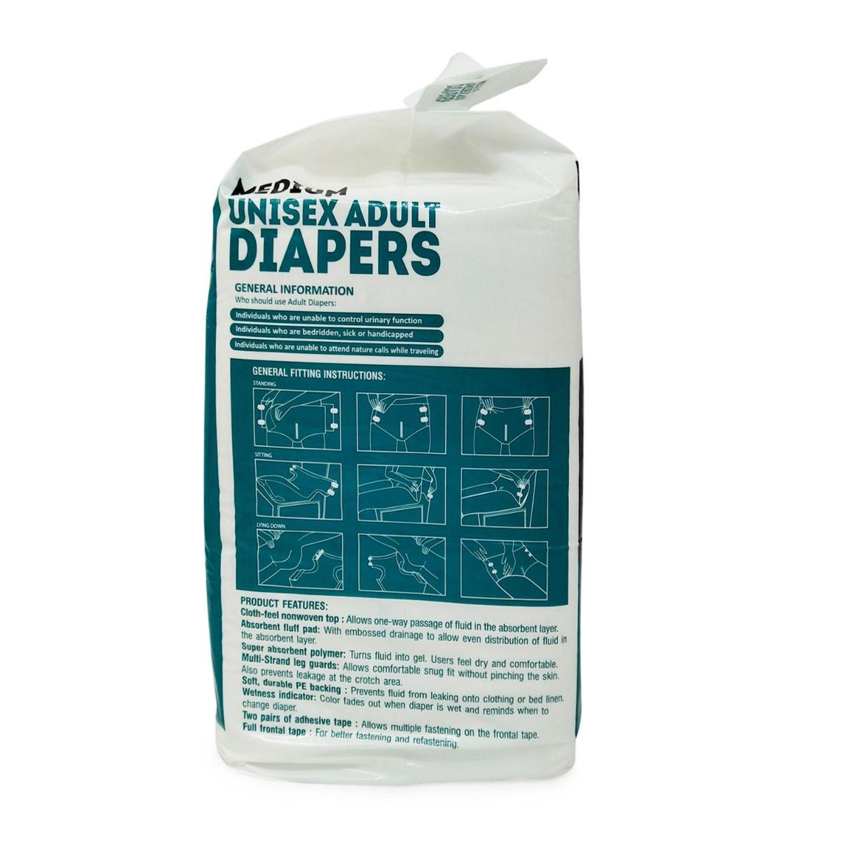 Apollo Life Unisex Adult Diapers Medium, 10 Count, Pack of 1