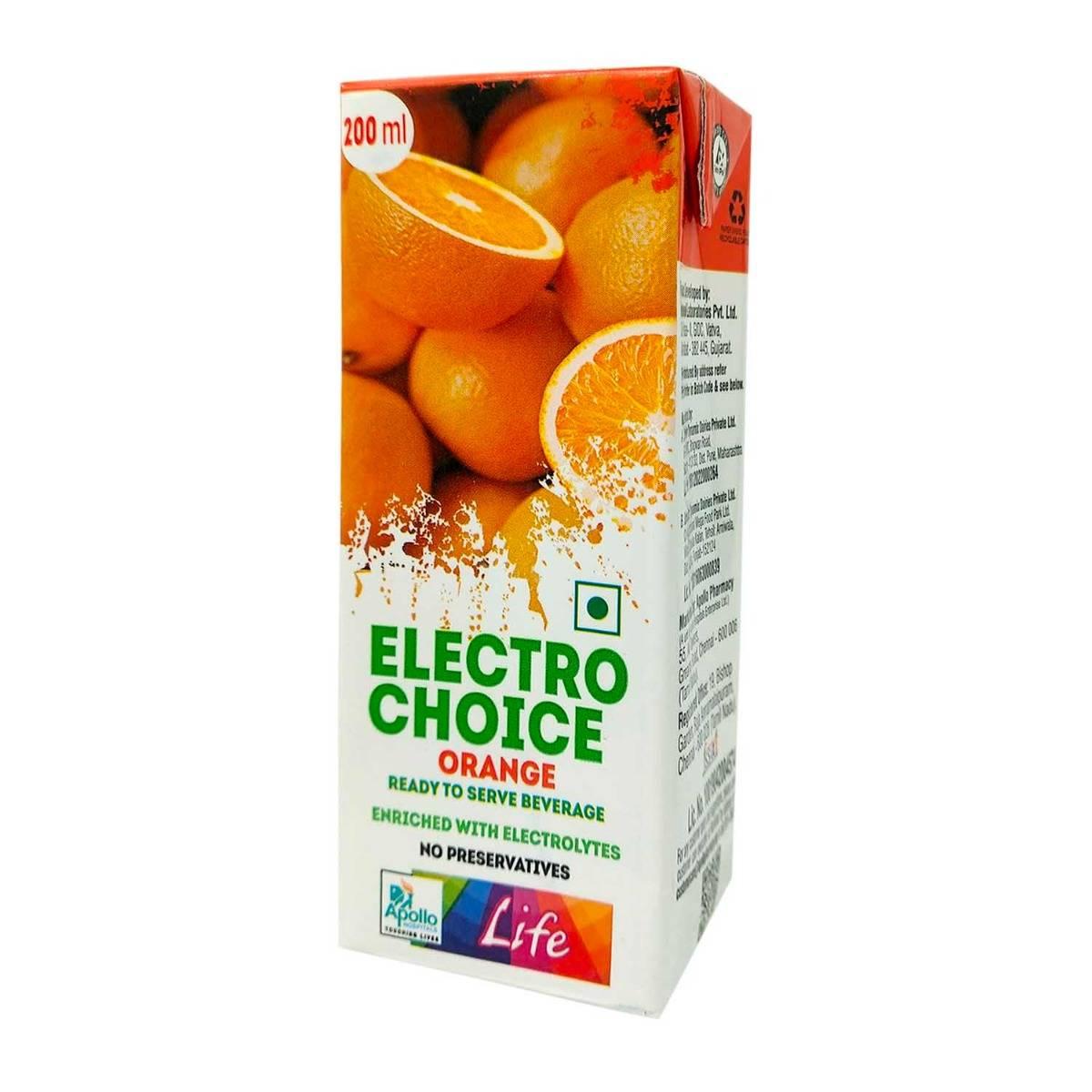 Apollo Life Orange Flavour Electro Choice, 200 ml, Pack of 1