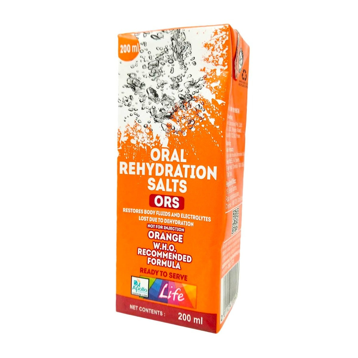 Apollo Pharmacy Orange Flavour ORS Drink, 200 ml, Pack of 1