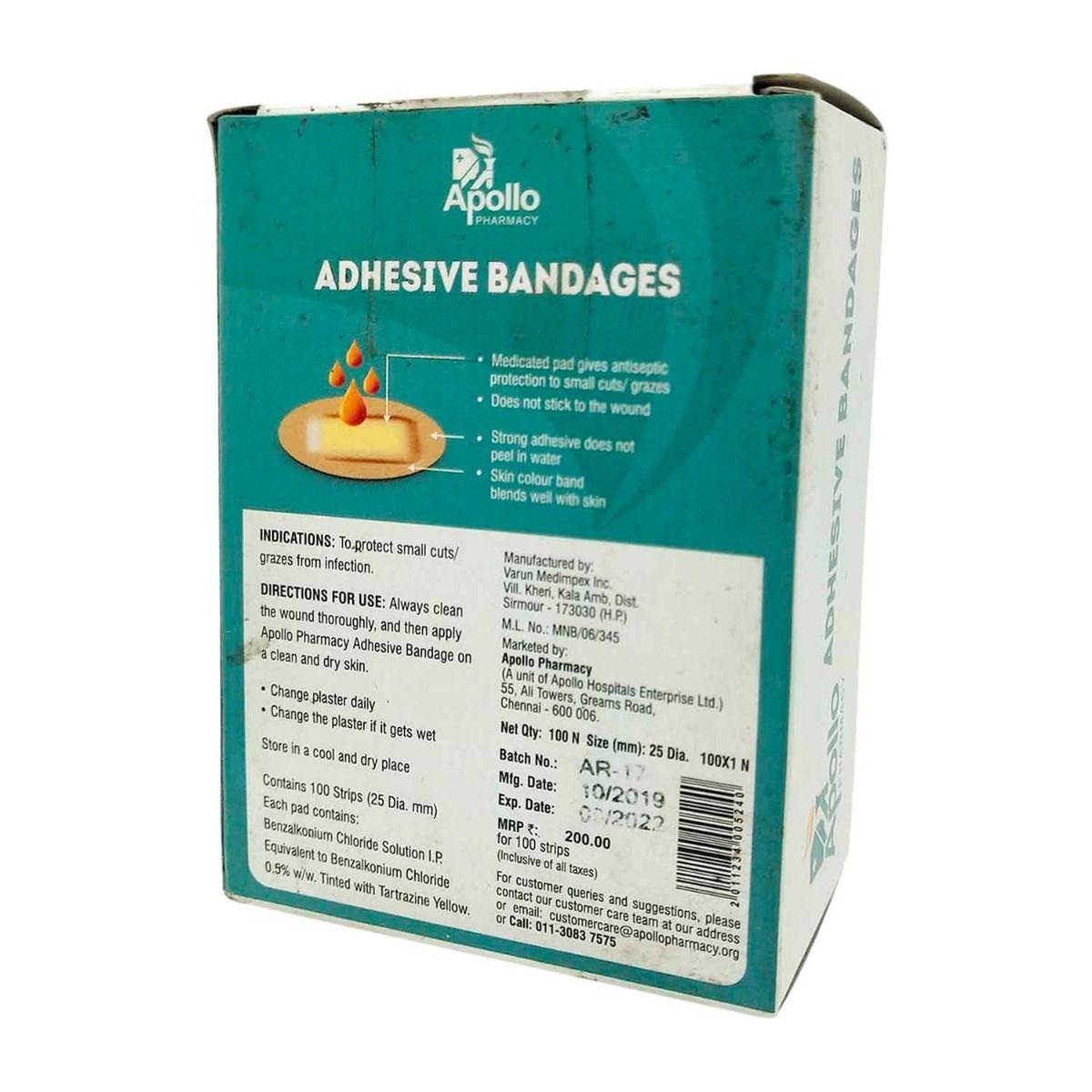 Apollo Pharmacy Adhesive Round Bandage Wash Proof, 1 Count, Pack of 1