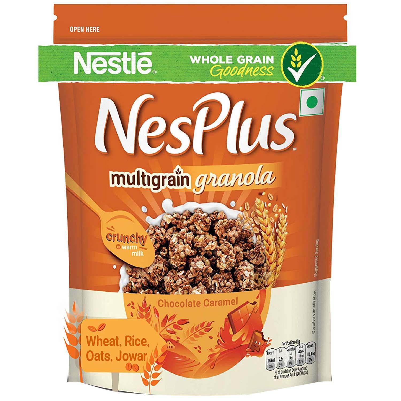 Nestle NesPlus Chocolate Caramel Multigrain Granola, 115 gm, Pack of 1