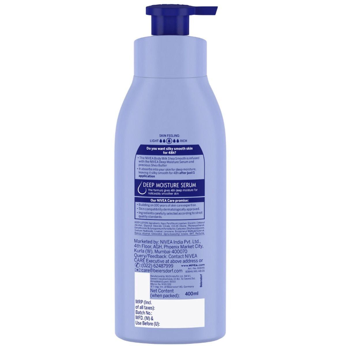 Nivea Shea Smooth Body Milk Moisturising Lotion, 400 ml, Pack of 1