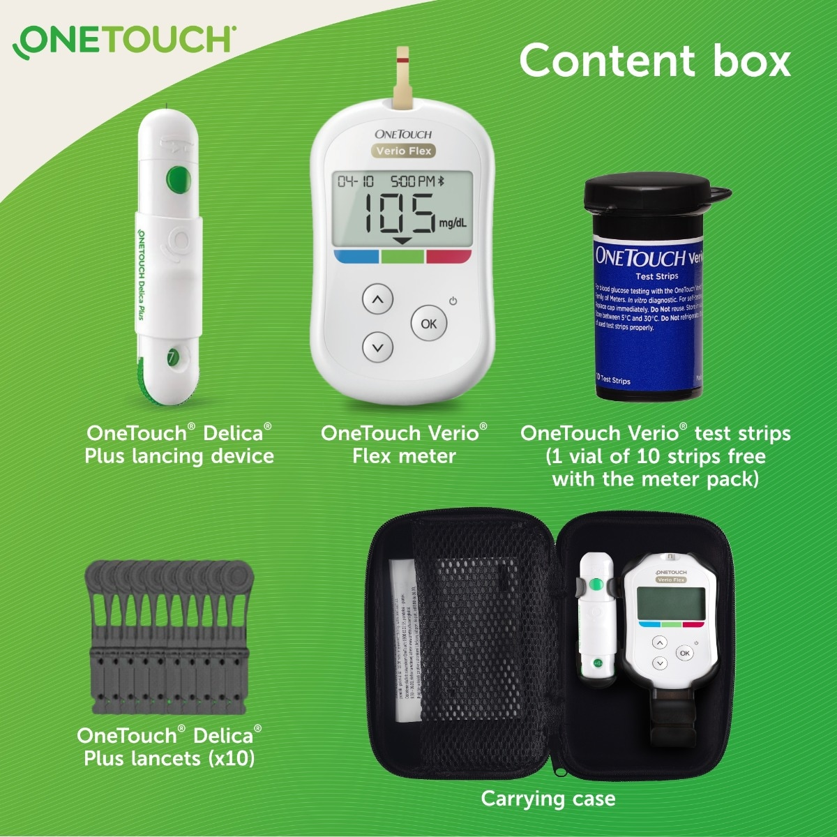 OneTouch Verio Flex Blood Glucose Monitor with OneTouch Reveal mobile application(FREE 10 strips + lancing device + 10 lancets), 1 Kit, Pack of 1
