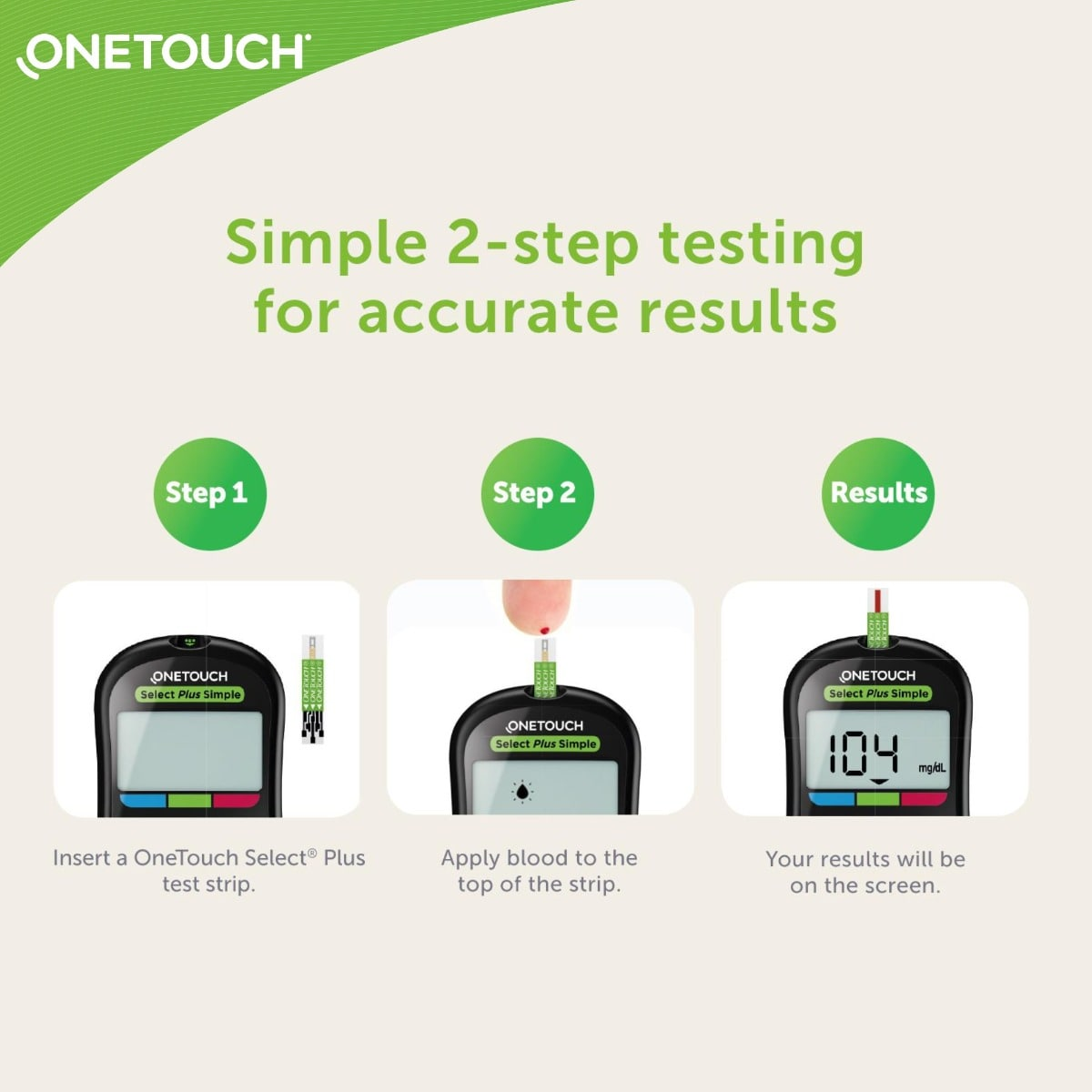 OneTouch Select Plus Simple Glucometer (FREE 10 strips + lancing device + 10 lancets), 1 Kit, Pack of 1