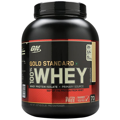 Optimum Nutrition 100% Whey Gold Standard Vanilla Ice Cream 5 lbs, Pack of 1