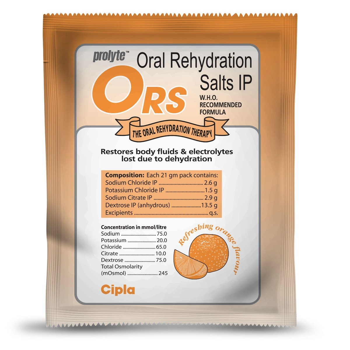 ORS Prolyte Orange Flavour Powder, 21 gm, Pack of 1
