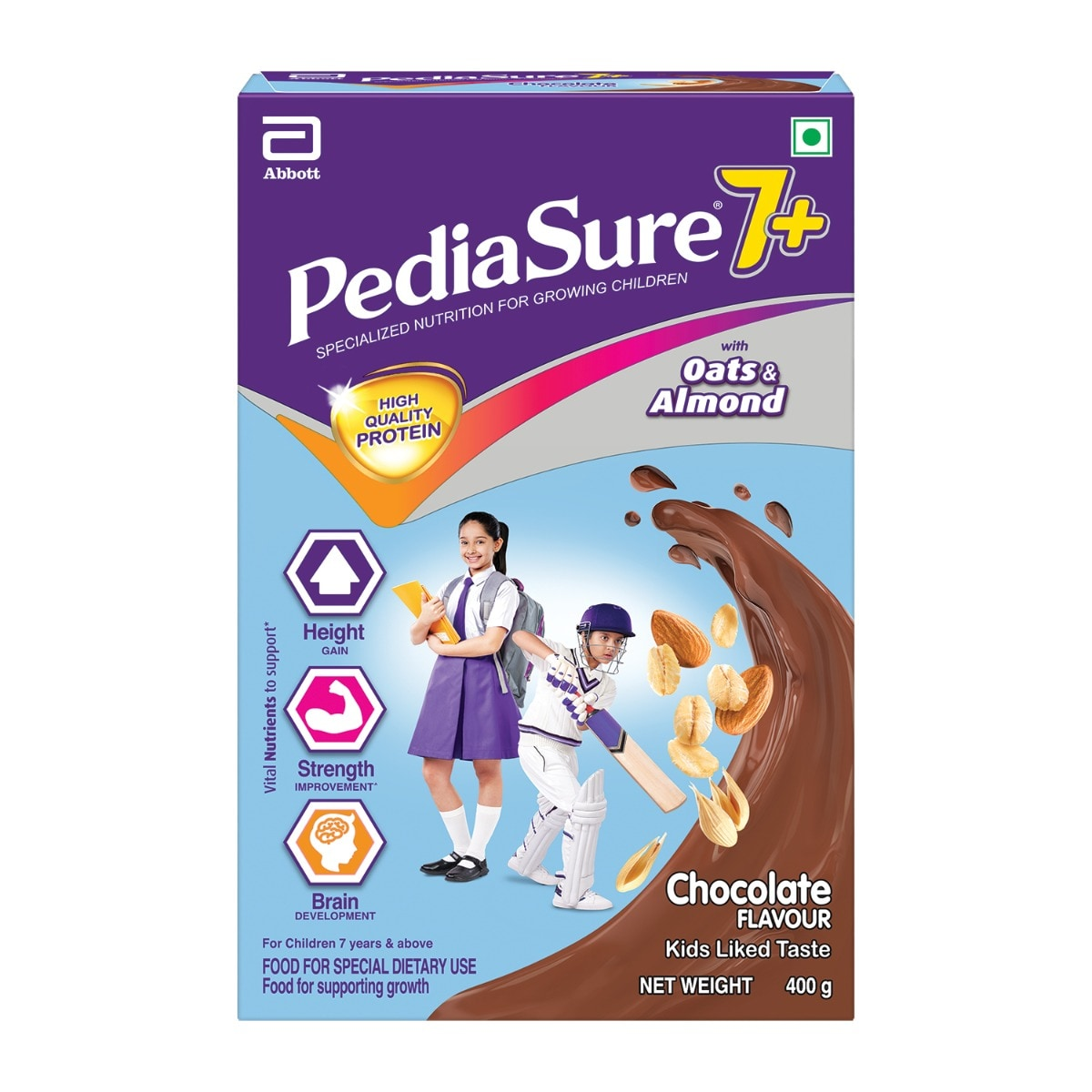 Pediasure Chocolate Flavoured Kids Nutrition Drink 7+ Years, 400 gm Refill Pack, Pack of 1