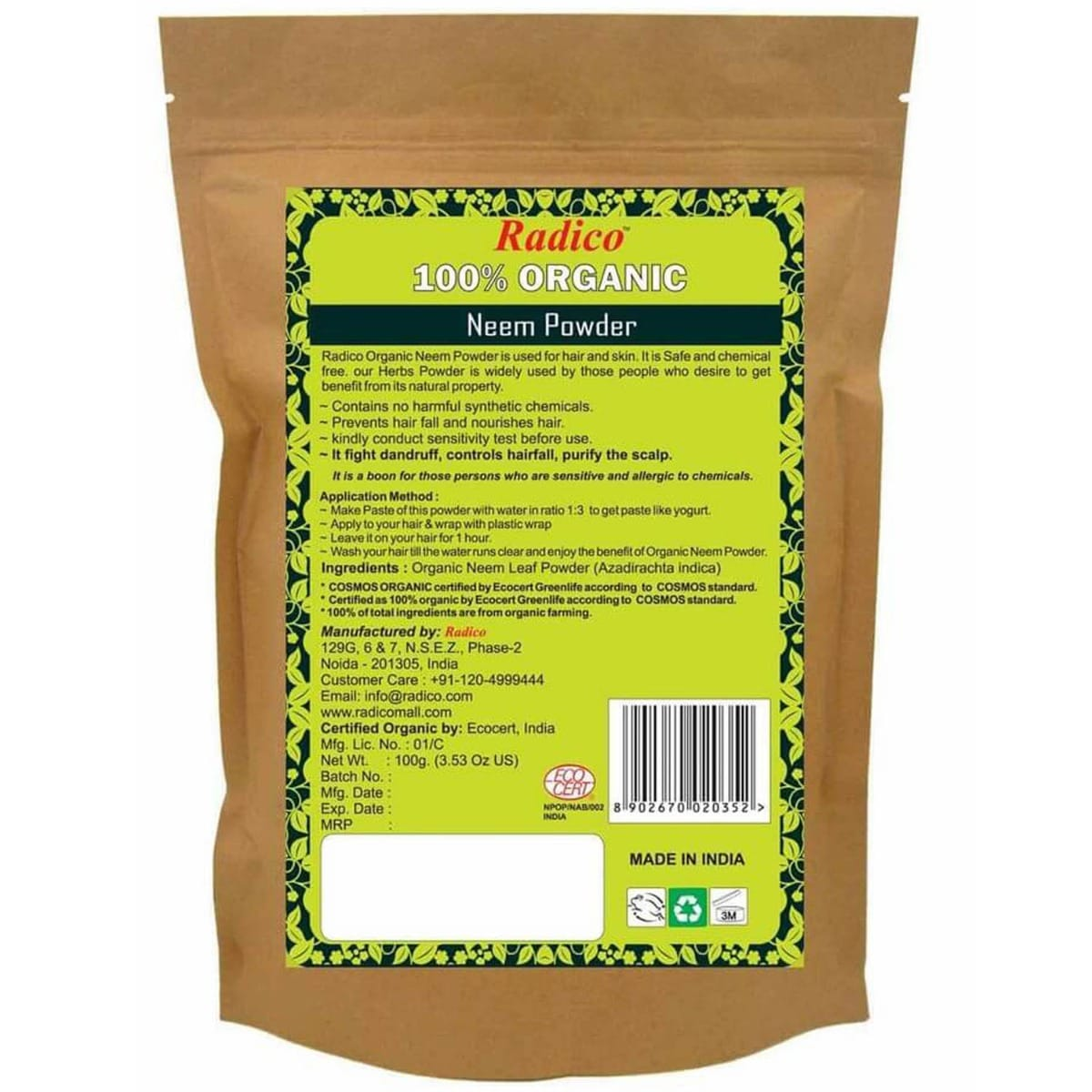 Radico Organic Neem Powder, 100 gm, Pack of 1