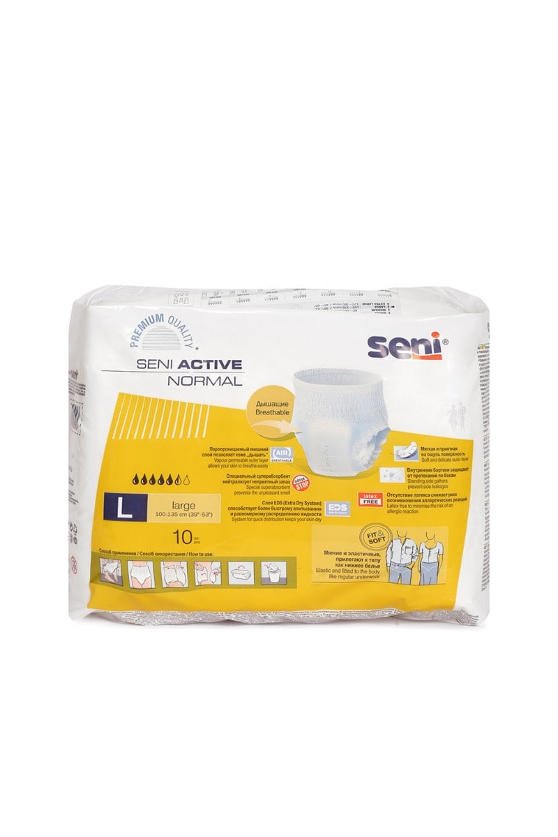 Seni Active Normal Breathable Elastic Disposable Underwear Diaper Large, 10 Count, Pack of 1