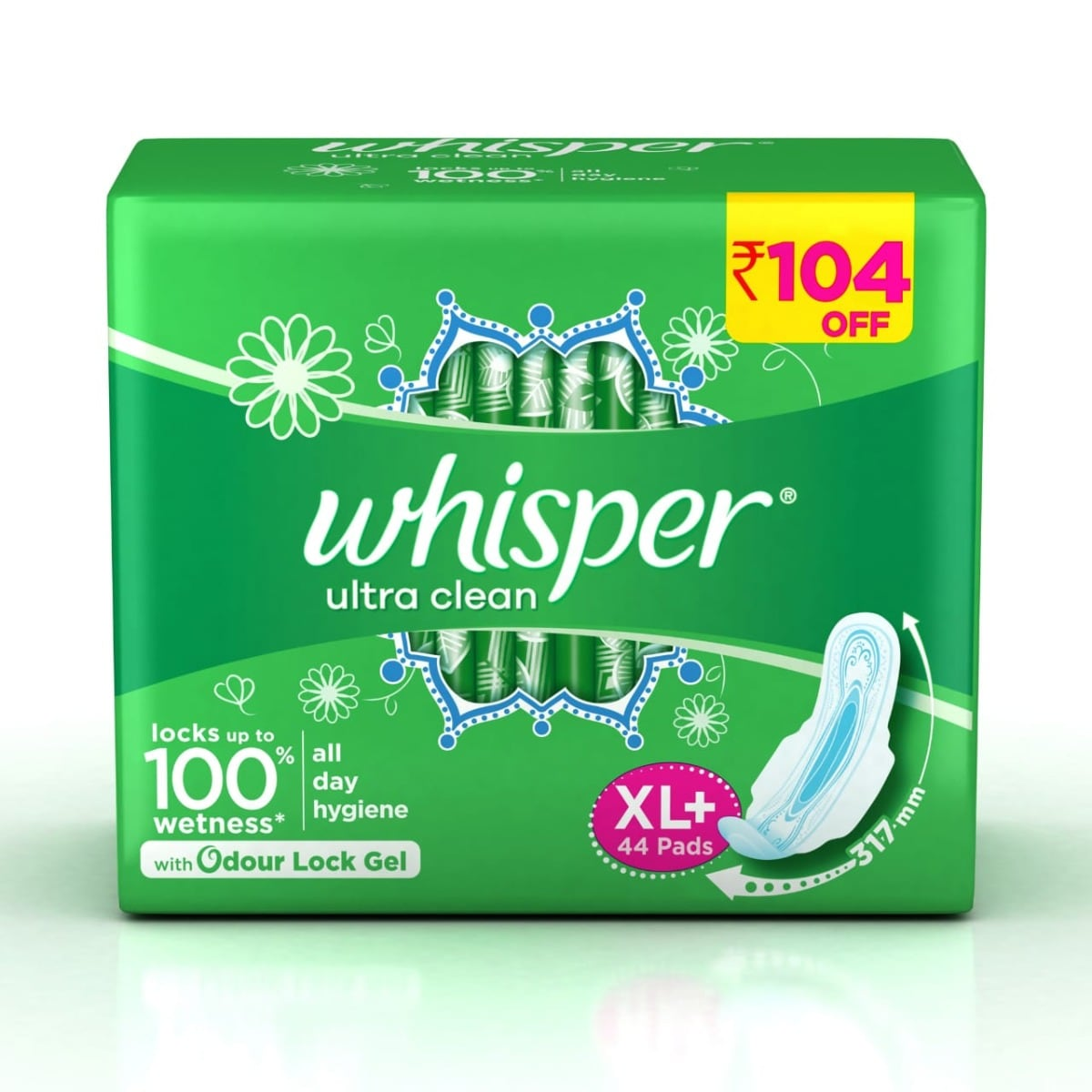 Whisper Ultra Clean Wings Sanitary Pads XL+, 44 Count, Pack of 1