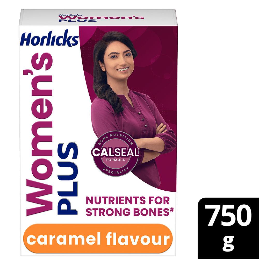 Horlicks Women's Plus Caramel Flavour Powder, 750 gm Refill Pack, Pack of 1